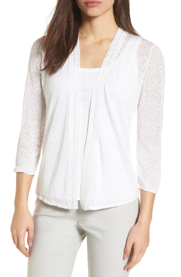 Nic + Zoe Petite Open-Front Crochet Trim 4-Way Cardigan In Paper White