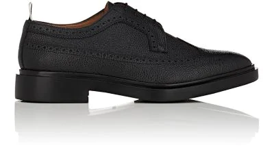 Thom Browne Classic Longwing Brogue With Leather Sole In Black