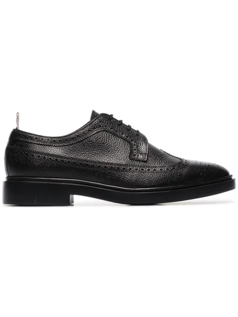 Thom Browne Classic Longwing Brogue Pebble Leather Derbies In Black
