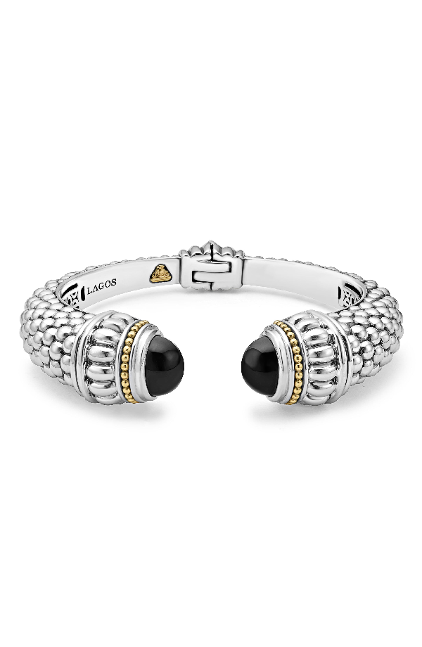 d937d86648e Lagos Sterling Silver & 18K Yellow Gold Caviar Large Cuff Bracelet With  Hematite