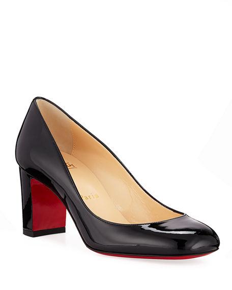 Christian Louboutin Cadrilla Patent Block-Heel Red Sole Pump In Black