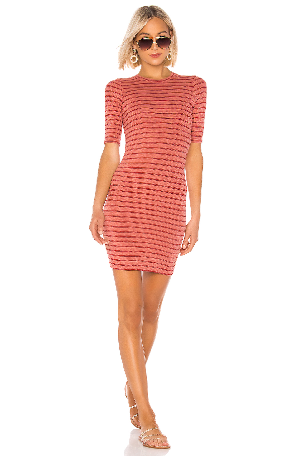 Enza Costa Rib Short Sleeve Mini Dress In Pink Sand & Red