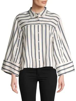 Bcbgmaxazria Striped Button-down Shirt In Gardenia Combo