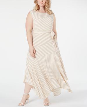 Calvin Klein Plus Size Striped Handkerchief-Hem Maxi Dress In Latte ...