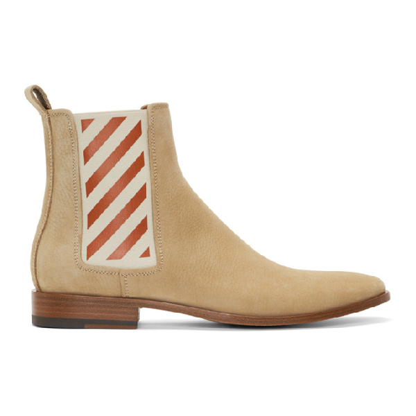 Off-White Striped Gore Leather Chelsea Boots In 4848 Beige