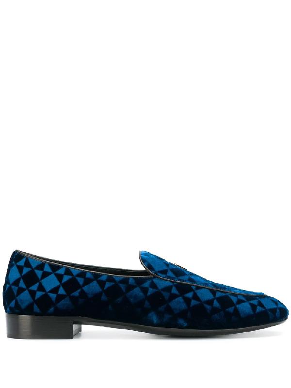 Giuseppe Zanotti Suit Patterned Velvet Loafer In Blue