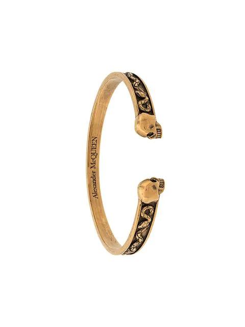 Alexander Mcqueen Double Skull Bracelet In 0448 Gold