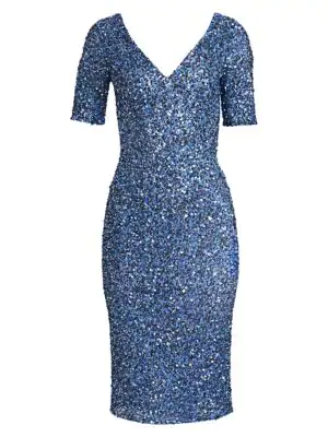 Theia Women's Sequined V-neck Cocktail Sheath In Dusty Blue