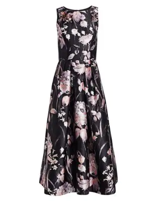 3d0fe26d7a8f Theia Sleeveless Embellished Floral Tea-Length Dress In Black Dusty Rose