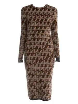 0f1d9dfc954 Fendi Ff Logo Jacquard Sweater Dress In Black Brown