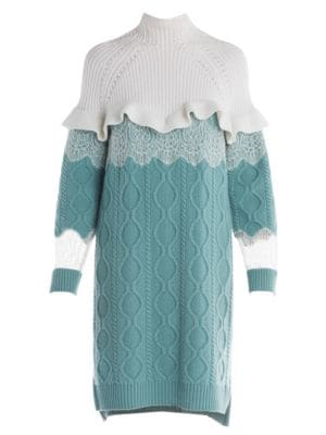 d26dc38917b Fendi Lace   Ruffle Detail Cable Knit Sweater Dress In White Teal ...