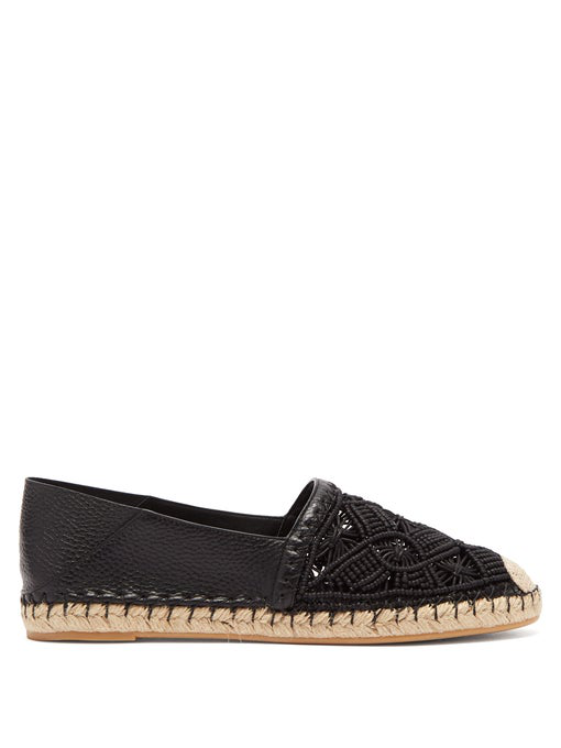 Valentino Marrakech MacramÉ And Leather Espadrilles In Black