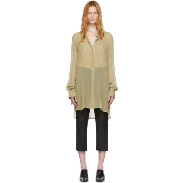 Ann Demeulemeester Ssense Exclusive Beige Silk Cupid Shirt In Sepia