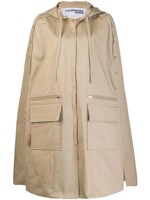 CourrÈGes Hooded Trench Cape - Neutrals