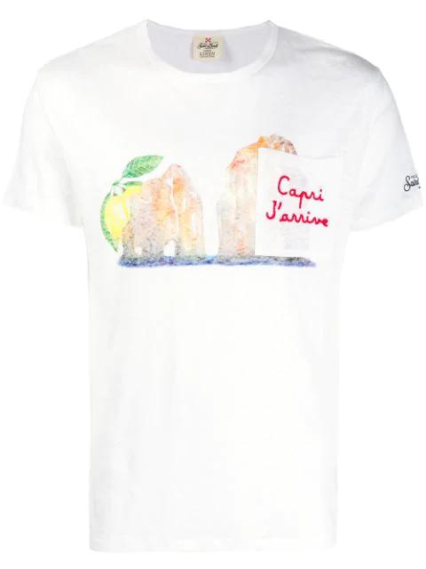 Mc2 Saint Barth Chest Pocket T-shirt In White