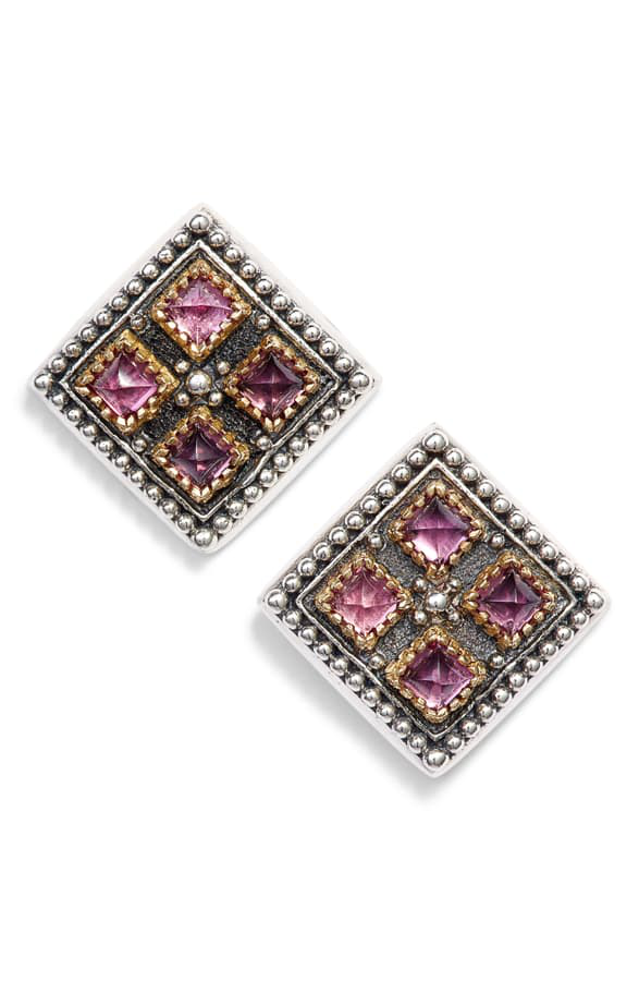 Konstantino Trillion Stone Stud Earrings In Silver/ Gold/ Rhodolite