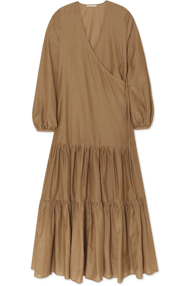 d2bbcc0506 Matin Tiered Silk And Cotton-Blend Voile Wrap Maxi Dress In Taupe ...