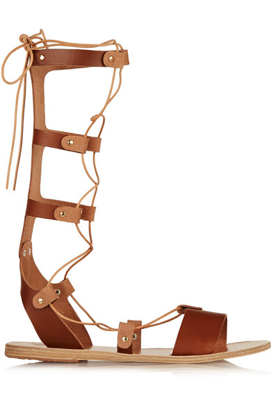 Ancient Greek Sandals Thebes Lace-Up Leather Sandals In Brown