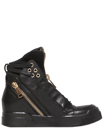Elena Iachi Zipped Leather High Top Sneakers In Black