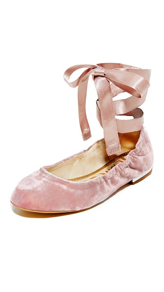 c2e11532f Sam Edelman  Fallon  Ribbon Tie Velvet Ballet Flats In Pink Mauve ...