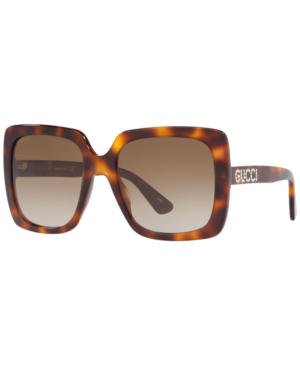 Gucci Gg0096S 006 Havana Acetate Square Women's Polarized Sunglasses In Tortoise / Brown Gradient