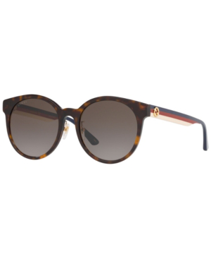 Gucci Tortoiseshell Web Stripe Round Sunglasses In Brown