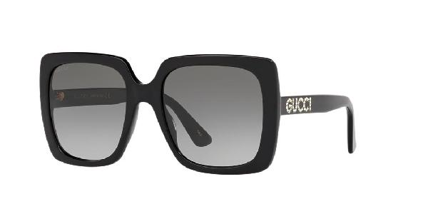 Gucci 54Mm Gradient Square Sunglasses - Black/ Crystal/ Grey Gradient
