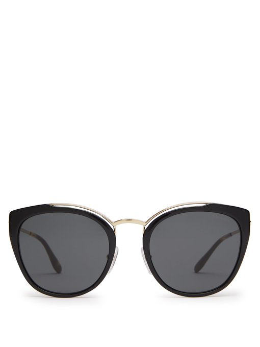 eeabb84d66 Prada Acetate   Metal Mirrored Cat-Eye Sunglasses