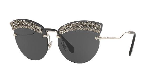 73a104677aff Miu Miu Scenique Evolution 65Mm Oversize Rimless Cat Eye Sunglasses - Silver  Solid