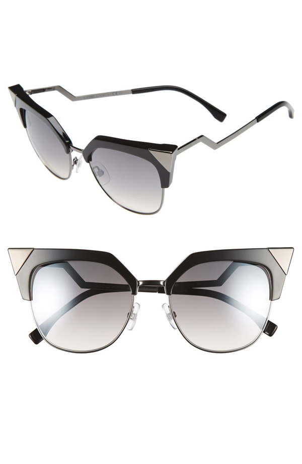 Fendi 54Mm Metal Tipped Cat Eye Sunglasses - Black/ Dark Ruthenium In Gunmetal Black