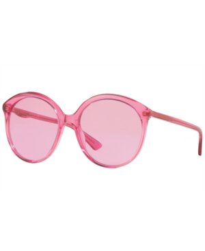 Gucci Gg0257S Specialized Fit Round-Frame Transparent Fuchsia Acetate Sunglasses