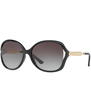 Gucci Gg0076S 001 Black Acetate And Gold Metal Round Oversized Women's Sunglasses