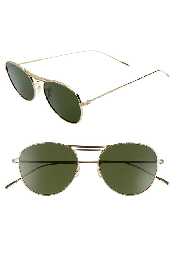 Oliver Peoples Cade 52mm Mirror Lens Aviator Sunglasses - Gold/ Green
