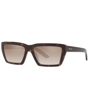 Prada Tortoiseshell Rectangle Sunglasses In Havana/Brown Grad Grey Mirror Silver