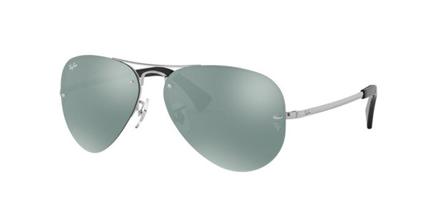 Ray Ban Highstreet 59mm Semi Rimless Aviator Sunglasses - Green/ Mirror In Silver Mirror