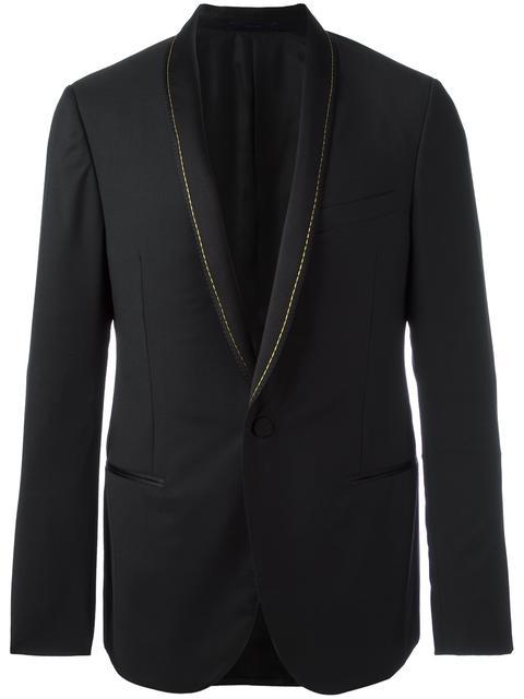 Lanvin Chain Stitch Shawl Lapel Wool Blazer In 10 Black