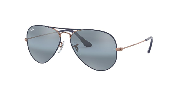 Ray Ban Metal Mirrored Aviator Sunglasses In Blue Gradient Mirror