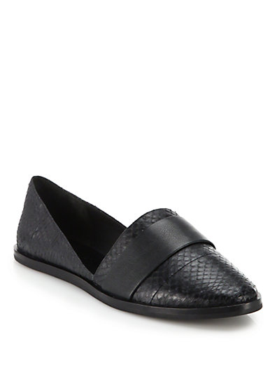 Vince Black Snakeskin And Leather 'Mason' Ballet Flats In Black/Bl
