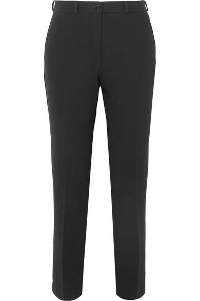 Etro Cropped Crepe Slim-leg Pants In Black