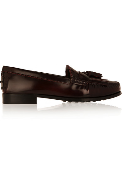 Tod's Tasseled Glossed-Leather Loafers In Burgundy