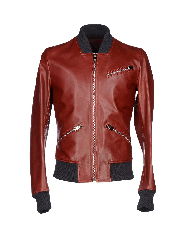 Dolce & Gabbana Leather Jacket In Brick Red