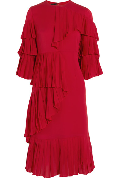Gucci Ruffle-Panel Silk-Georgette Dress In Red
