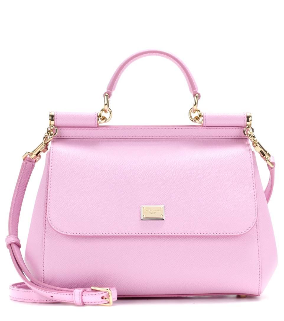 cbe20a149 Dolce & Gabbana Sicily Embossed Leather Shoulder Bag In Pink | ModeSens