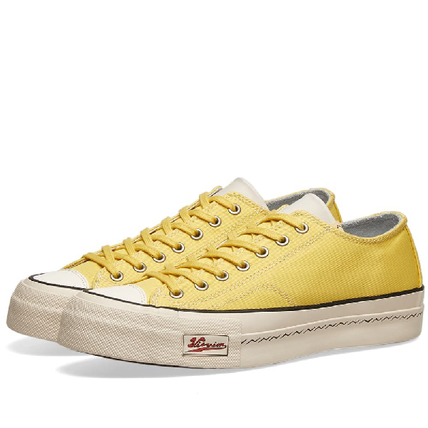 Visvim Skagway Leather-Trimmed Canvas Sneakers In Yellow