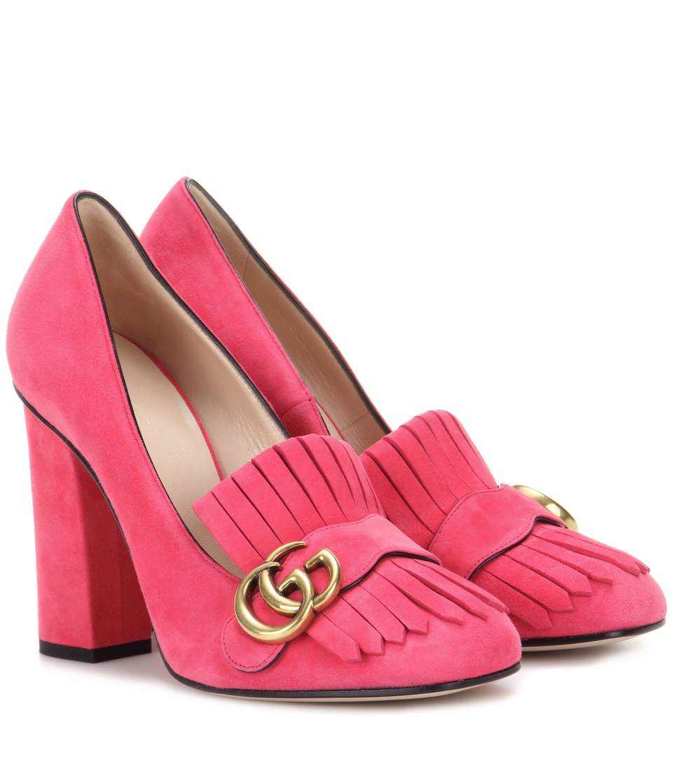 Gucci Marmont Suede Loafer Pumps In Pink