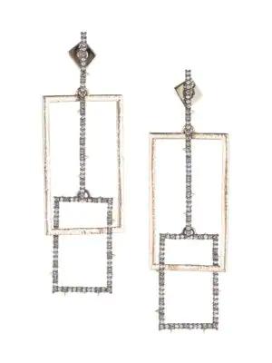 Alexis Bittar 10K Goldplated & Swarovski Crystal Encrusted Brutalist Link Post Earrings