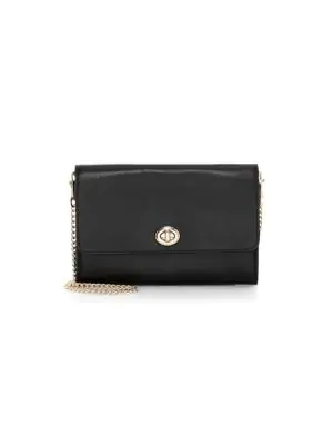 3f64442dc Coach Marlow Turnlock Chain Leather Crossbody Bag In Black | ModeSens