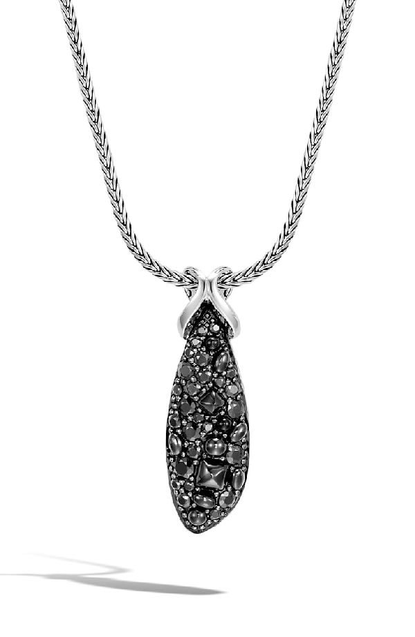 John Hardy Sterling Silver Classic Chain Pull-Through Pendant Necklace With Black Sapphire & Black Spinel, 20 In Silver/ Black Sapphire