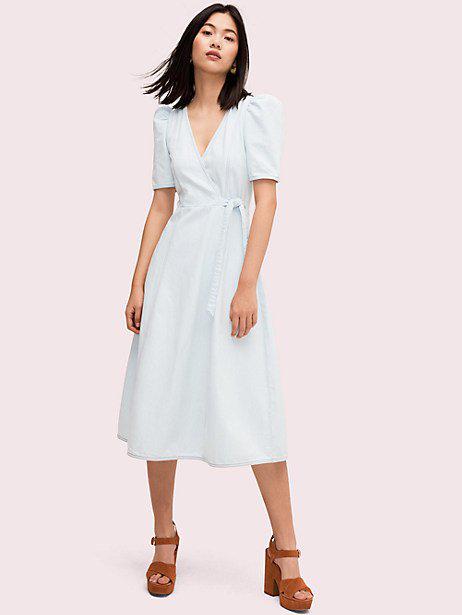 Kate Spade Denim Faux Wrap Dress In Bleached Indigo