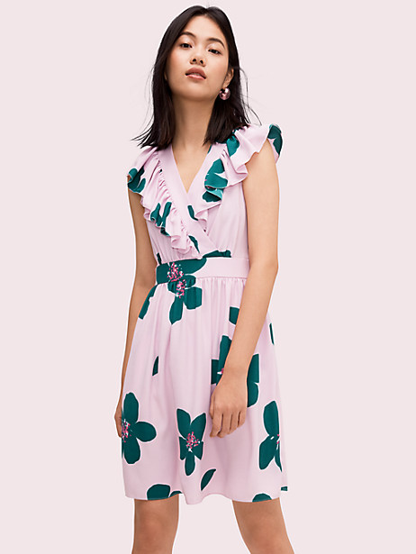 Kate Spade Grand Flora A-Line Dress In Mirage Pink